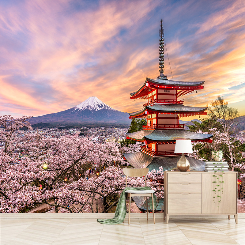 Us 8 85 40 Off Custom Any Size 3d Wall Mural Wallpapers Modern Fashion Cherry Blossoms Towers Mount Fuji Ybz076 In Wallpapers From Home