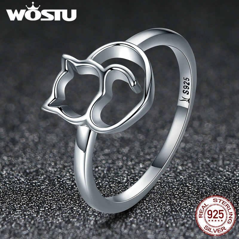 5fde7243d0a9 ... WOSTU nueva llegada 100% de Plata de Ley 925 gato encantador anillos  para las mujeres
