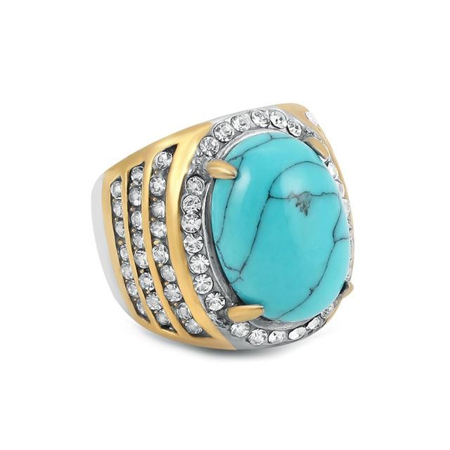 6358d07e8069 € 3.4 25% de DESCUENTO Oro de acero inoxidable de Color anillo de los  hombres con piedra azul de moda cristales de diamantes de imitación anillos  ...