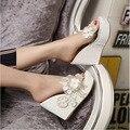 Бисера цветы платформы клинья женщин тапочки моды вьетнамки горячая чешский национальный стиль женщины сандалии