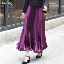 Women's Vintage Metal Color Mermaid Skirts Ladies Elegant Elastic High Waist Pleated Midi Skirts Saias Jupe Autumn Winter SK176