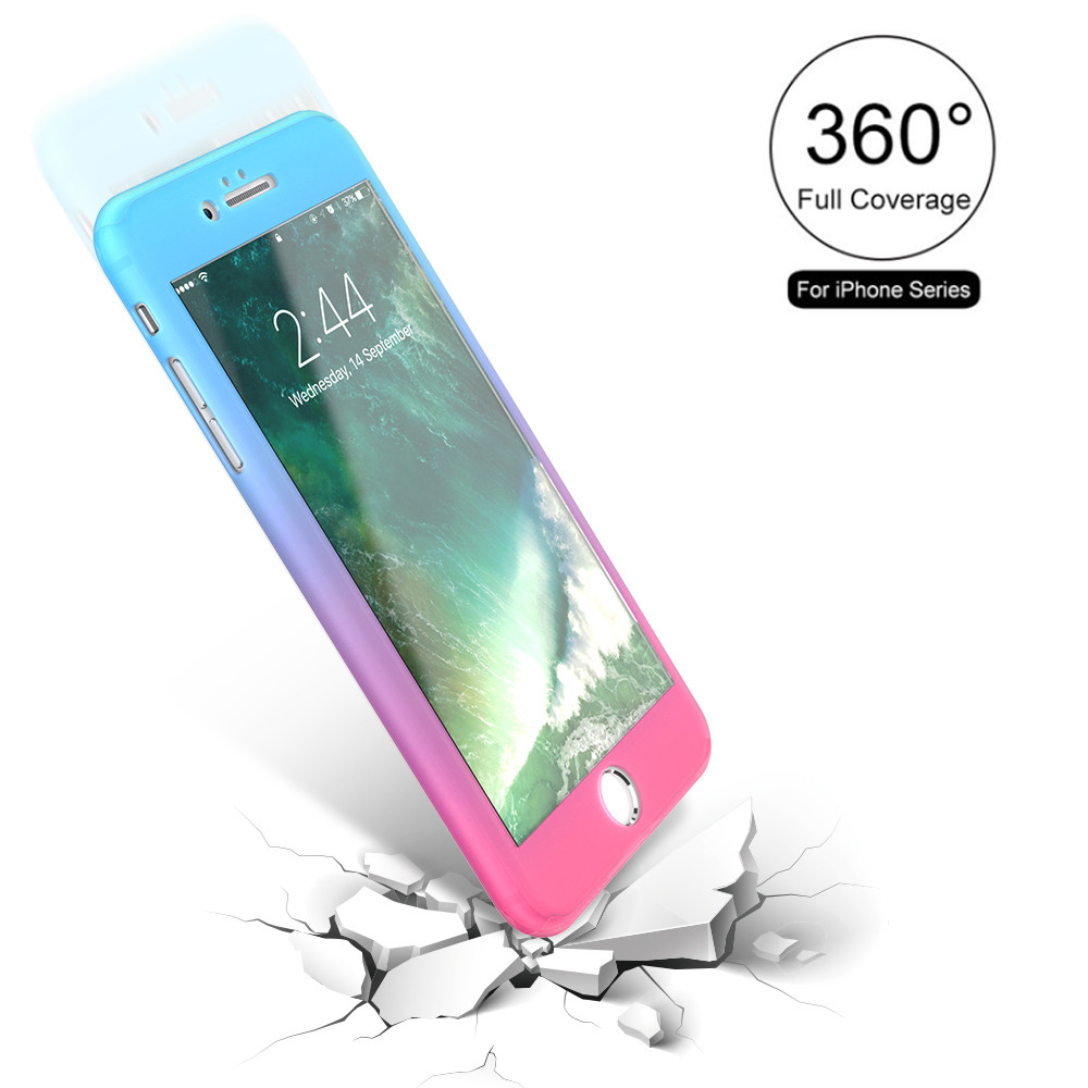 360 Degree Full Body Cover Gradient Case For Iphone 6 6s Plus 2in1 Hybrid Armor Samsung Galaxy Tab A 70 2016 T285 7 Back Tempered Glass Film
