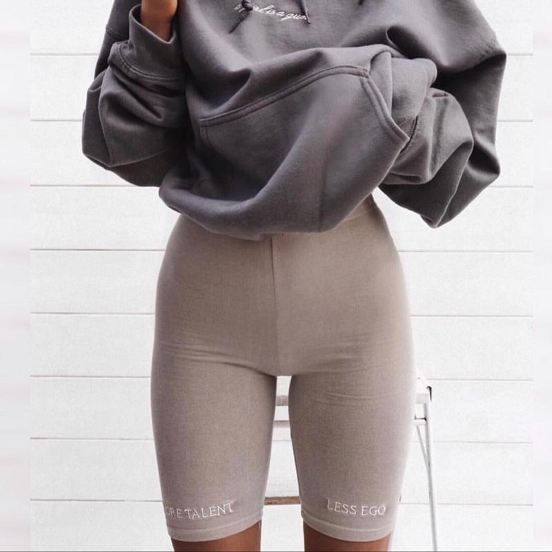 Summer biker shorts 2019 High waist shorts women elastic waist skinny fitness korean casual sexy short Letter print black shorts 2