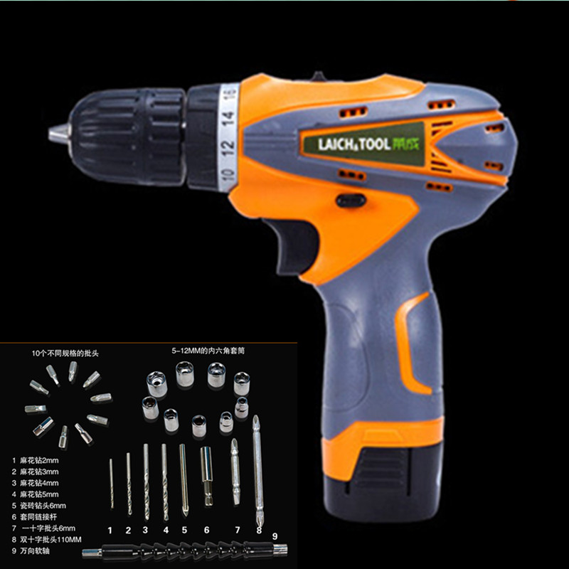 цена на 16.8V Lithium Battery Torque Electric Drill bit cordless Electric Screwdriver hand wrench with plastic case carry tool box set