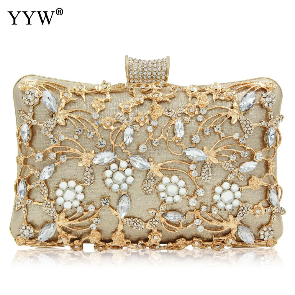 Women Rhinestone Clutch Bags gold purse Handbag Luxury Wedding Beaded elegant Crystal Evening Bag Diamond silver Shoulder Bags