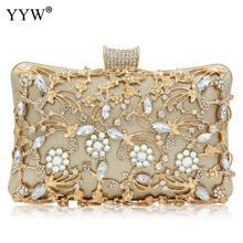 נשים ריינסטון מצמד שקיות זהב ארנק תיק יוקרה חתונה חרוזים אלגנטי קריסטל ערב תיק יהלומי כסף כתף שקיות