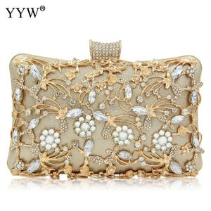 Image 1 - Women Rhinestone Clutch Bags gold purse Handbag Luxury Wedding Beaded elegant Crystal Evening Bag Diamond silver Shoulder Bags