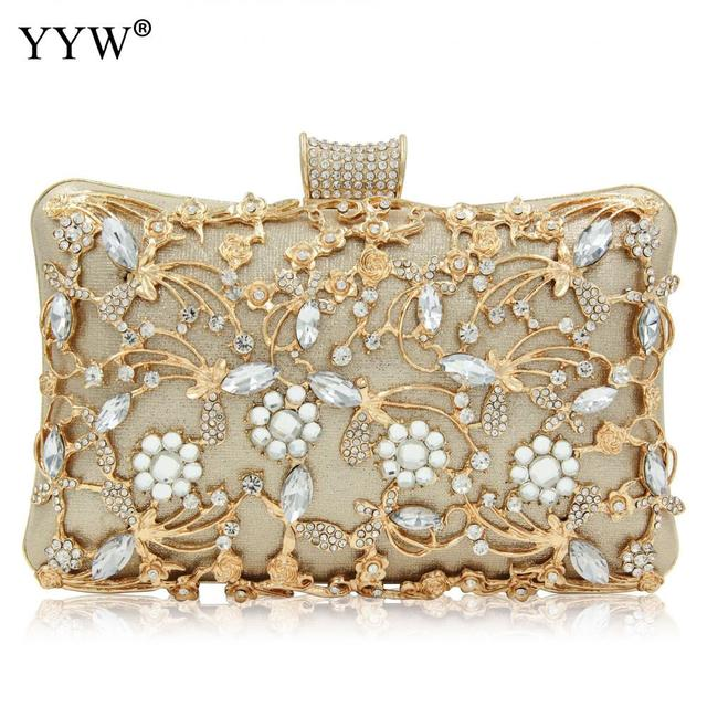 Women Rhinestone Clutch Bags gold purse Handbag Luxury Wedding Beaded elegant Crystal Evening Bag Diamond silver Shoulder Bags