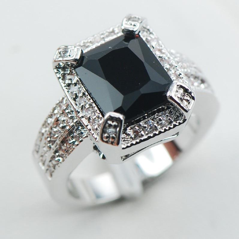 Negro Onyx Moda 925 Tamaño De Anillo De Plata Esterlina 6 7 8 9 10 F1063 W424