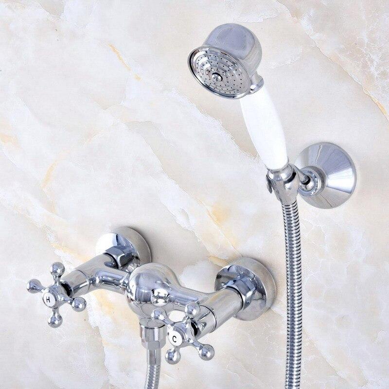 Montaje en pared de latón cromado pulido baño dos picaportes en cruz ducha de mano grifo mezclador conjunto teléfono forma Spray mano ana769