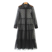 Women Polka Dot Patchwork Transparent Midi Shirt Dress Long Sleeve Female Sexy Mesh Dresses Long Elegant Vestidos(China)