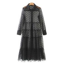 Women Dress Stylish Polka Dot Patchwork Transparent Midi Shirt Dress