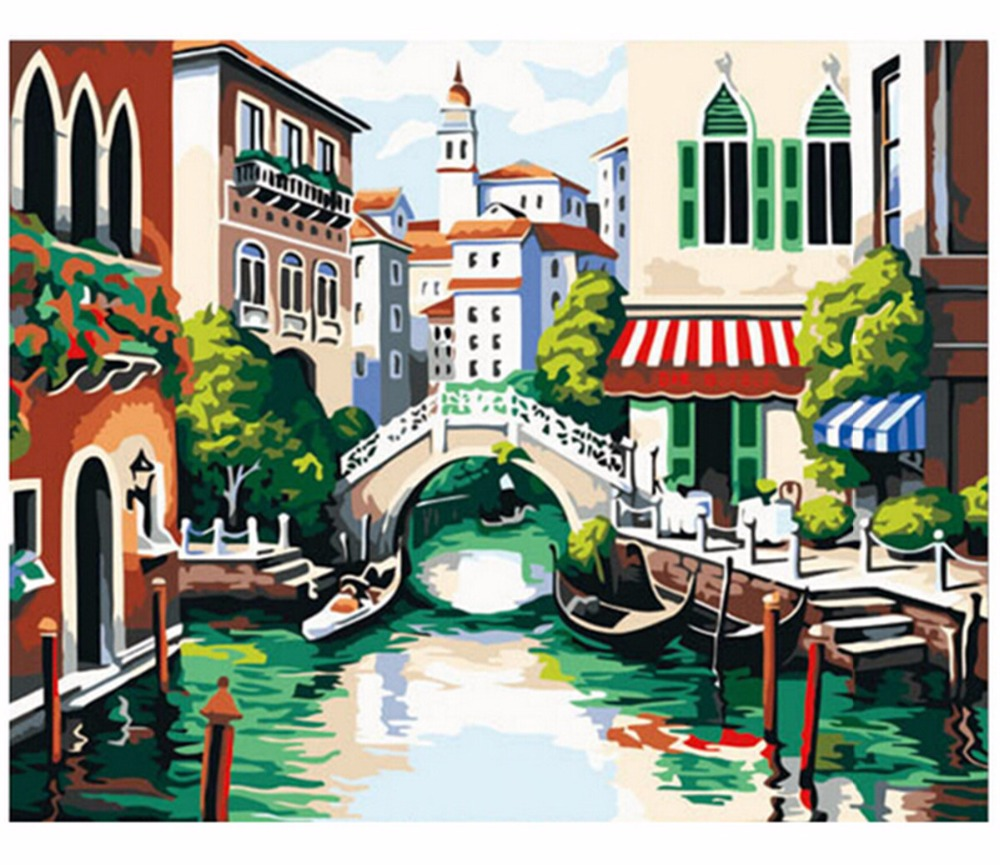 Hand-painted Beautiful town DIY Canvas Painting Wall Pictures For Room Home Decorations Poster Art Prints Oil Paintings