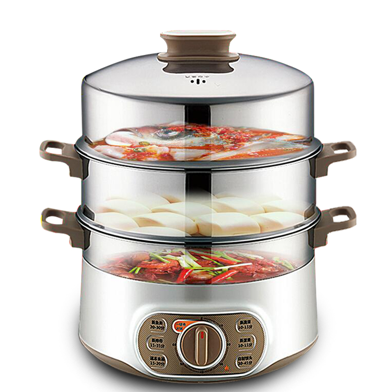 Stainless Steel Electric Vegetable Steamer ~ W l large capacity triple stainless steel electric