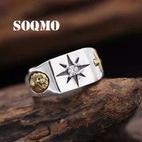 SOQMO White Zirconia Cross Virgin Mary Resizable Ring for Christian Vintage Charm 925 Sterling Silver Rose Gold Ring Men Women
