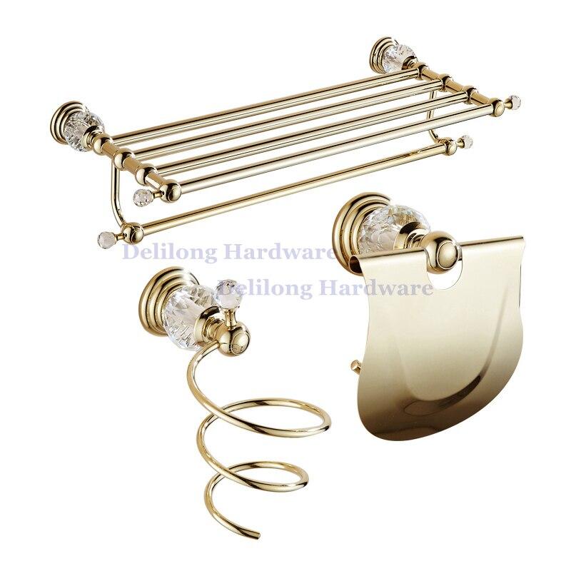 € 27.46 |Laiton doré couleur cristal porte serviettes montage mural tour  Rack boîte de papier toilette brosse ensemble salle de bains matériel ...
