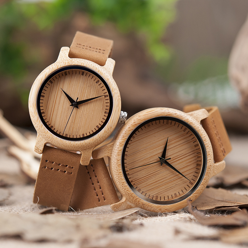 BoBo Bird Brand Lovers Wooden Bamboo Watch Quartz Watch Real Leather Strap Watches Men and Women relogio feminino bobo bird 2017 mens watches brand luxury quartz wooden wristwatch leather strap male bamboo watch relogio masculino
