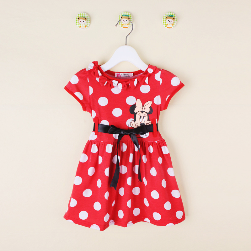 2017 Summer Minnie Baby Dress Tutu Polka Dots Girls Dress Party Princess Girl Dresses Vestidos With Black Belt Children Clothing minnie dots 4th birthday number minnie print tank top with white ruffles