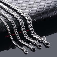 Снаряженная кубинская Мужская цепочка, серебряное ожерелье из нержавеющей стали для мужчин, модные ювелирные изделия 3,5 мм/5 мм/7 мм/9 мм