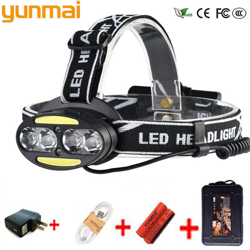 yunmai Headlight 30000 Lumen headlamp 4* XM-L T6 +2*COB+2*Red LED Head Lamp Flashlight Torch Lanterna with batteries charger headlight 35000 lumen headlamp 5 chip xm l t6 led head lamp flashlight torch lanterna headlamp with batteries ac charger