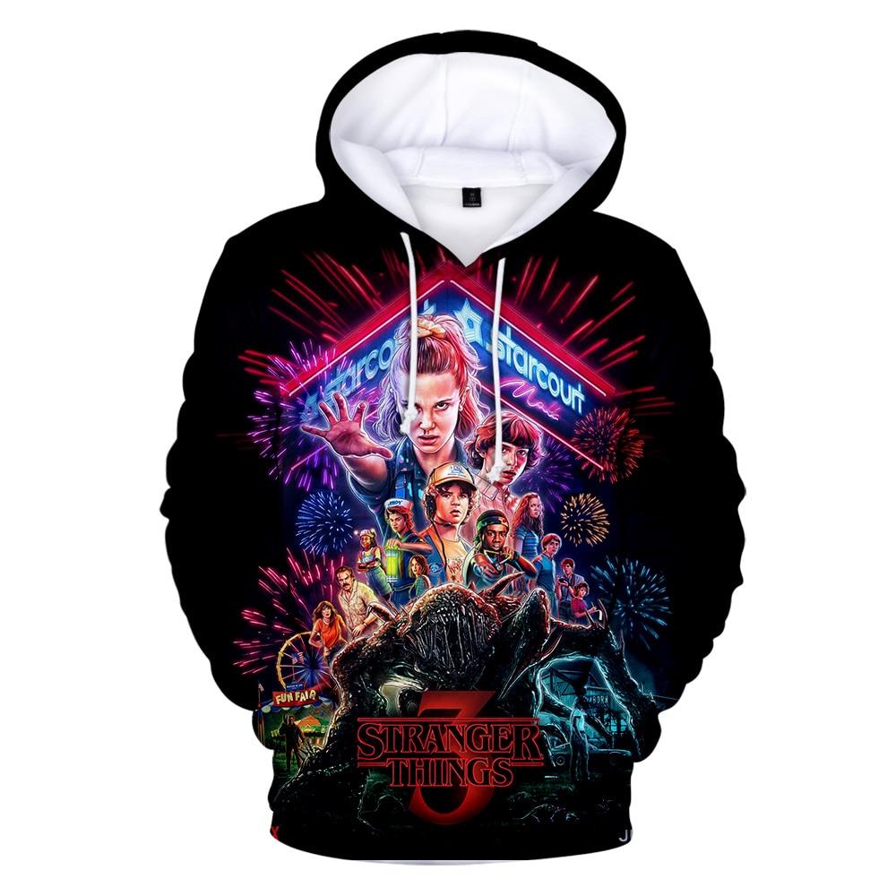 2019 Hot Men's Hoodie Stranger Things Season 3 Sweatshirt TV series Stranger Things 3D Print Winter Warm Hoodies 4XL