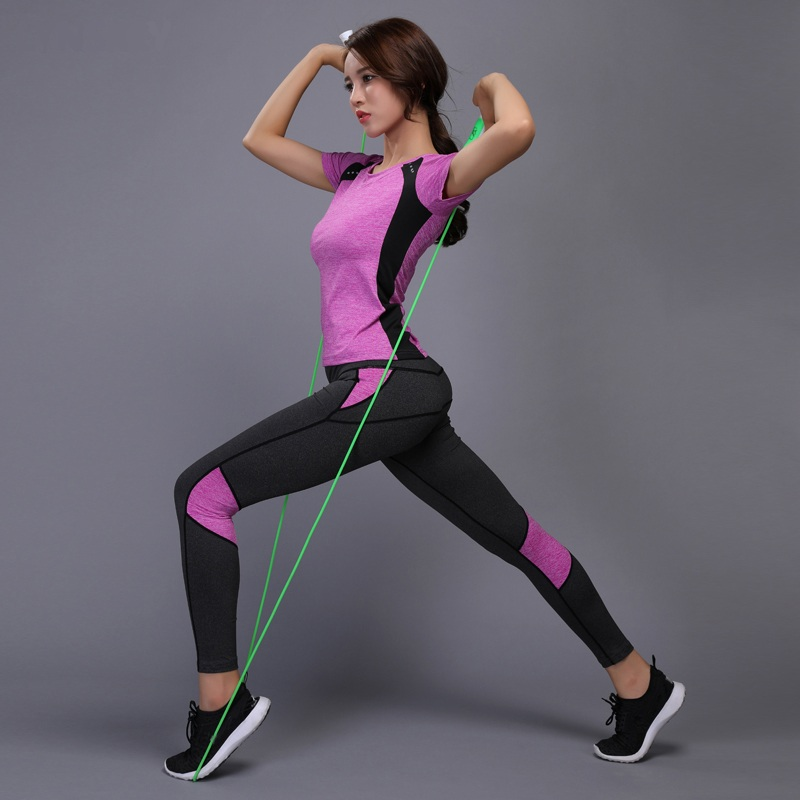 Women Yoga Sets T-shirts Pants Fitness Workout Clothing Gym Running Girls Slim Leggings Tops Sport Wear Patchwork Sport Suits one piece tracksuits yoga sets print floral tight leggings women workout clothing sets jumpsuit gym pilates athletic sport wear
