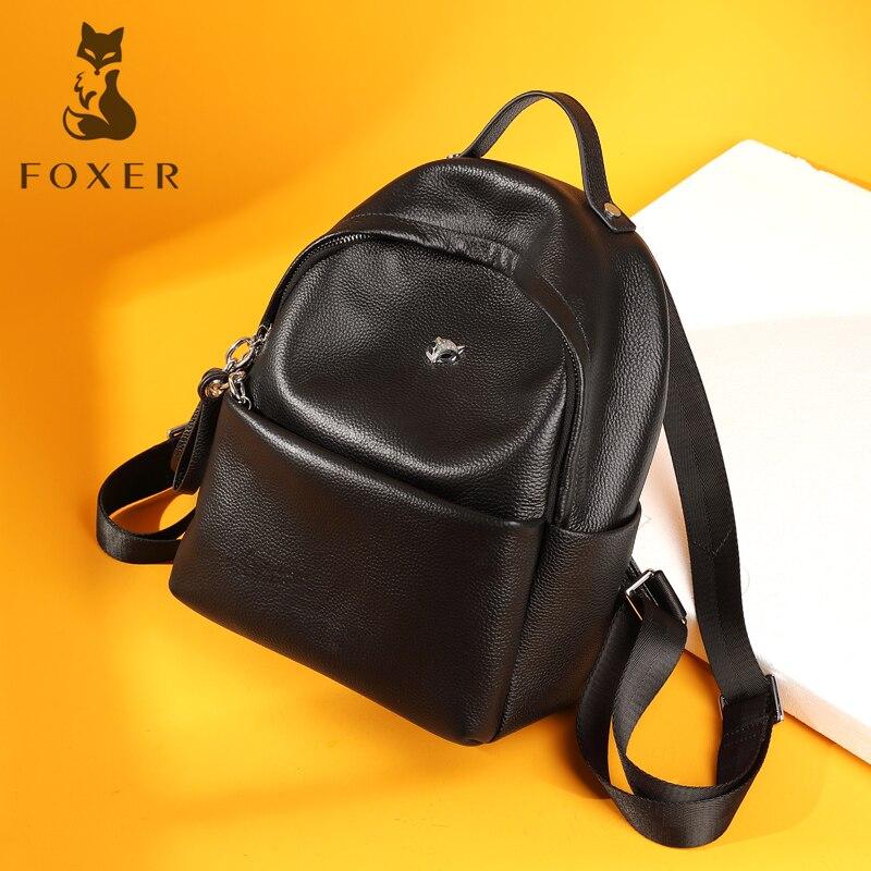 FOXER Women's Genuine Leather Backpack School Bags For Teenage Girls Ladies Practical Functional Travel Bags Fashion foxer 2018 new women leather bag fashion school bags for teenage girls women backpack