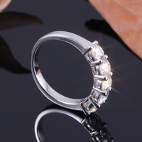 TransGems 1.5 CTW 4MM FGH Moissanite Half Eternity Engagement Band Sterling Silver and 14K Gold for Women Fine Jewelry