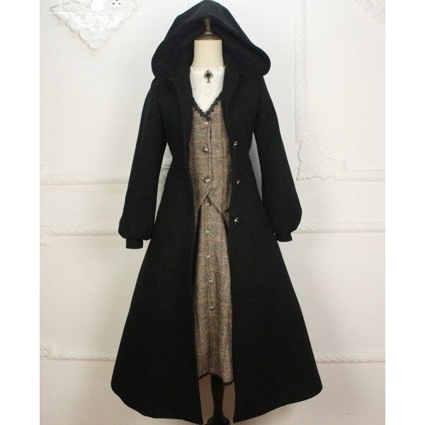 Индивидуальный заказ ~ Винтаж для женщин с капюшоном длинное шерстяное пальто Готический Тренч Miss Point