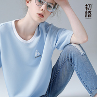Toyouth T Shirts 2017 Summer Women T Shirt Embroidery Casual Short Sleeve O Neck Blue Color