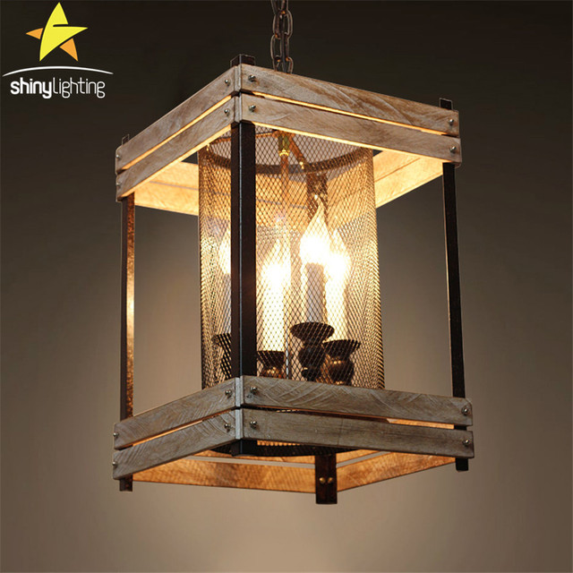industrial creative pastoral attic ladder hanging chain pendant lights nordic study bedroom clothing shop wood lamp