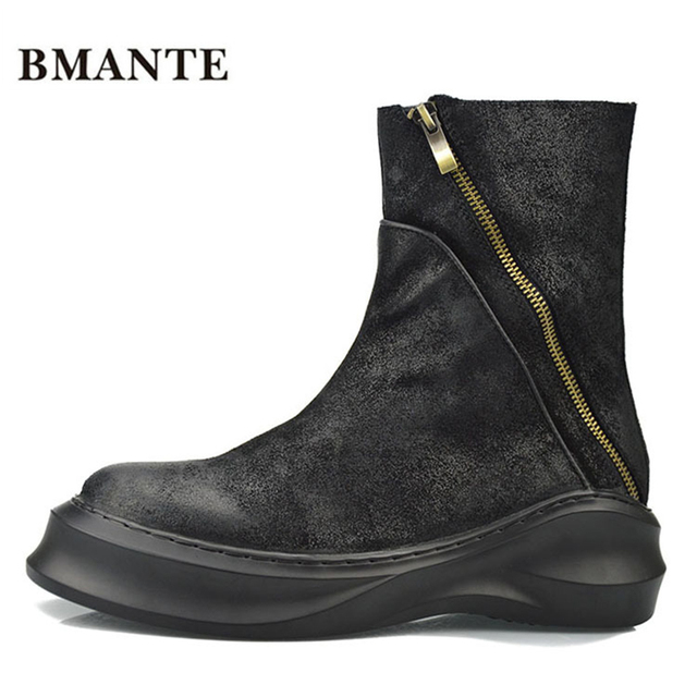 Real leather bootie Cow suede brand fashion male Casual shoes tall Footwear  high top Thick sole tide Platform Harajuku boots men 53f7c98b6cf4