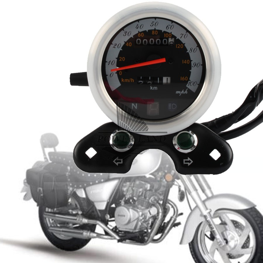 Black Motorcycle 12V LED Digital Backlight Tachometer Backlight Gauge Dual Speedometer Odometer Universal for Kawasaki Suzuki old school motorcycle gauges