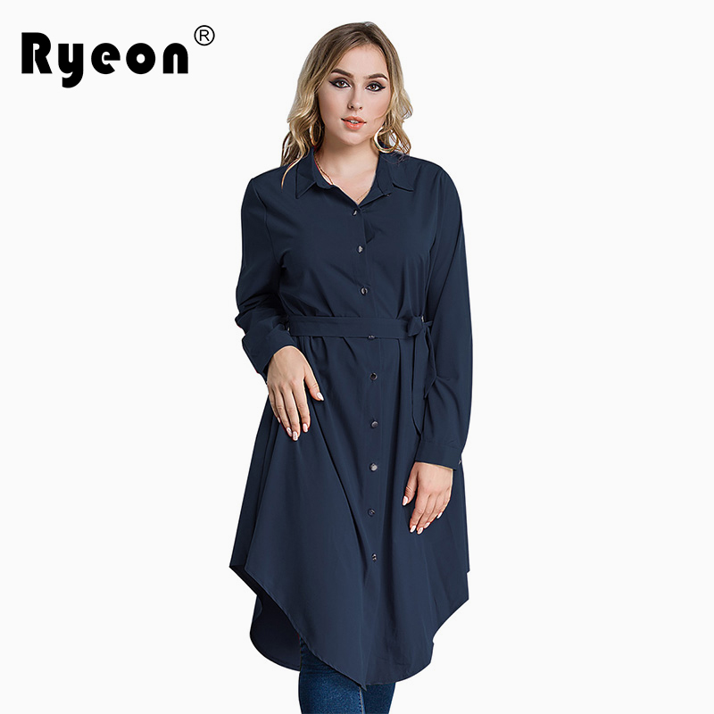 c8968e5073c Ryeon Plus Size Shirt Dress Autumn Winter Women Dress Big Size Black Red  Green Blue Long Sleeve Loose Tunic Sashes Office Dress