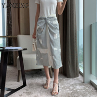 2019 Summer New High Quality Korean Clothing Patchwork Pleated Striped Split Panelled Women Loose Feminina Skirt E986