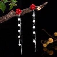 Earrings For Women Rose Drop Earings Brincos 2018 Bijoux Femme 925 Sterling Silver Oorbellen Pendientes Mujer