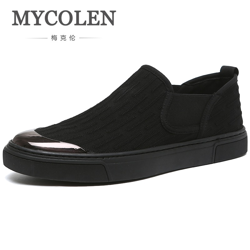 MYCOLEN Spring Summer Classic Men Canvas Shoes Breathable Black Casual Shoes Men Slip-On Men Flats Shoes Schuhe Herren the spring and summer men casual shoes men leather lace shoes soled breathable sneaker lightweight british black shoes men