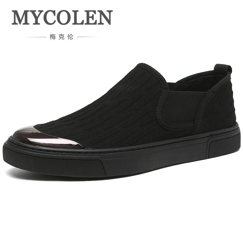 MYCOLEN Spring Summer Classic Men Canvas Shoes Breathable Black Casual Shoes Men Slip-On Men Flats Shoes Schuhe Herren цена