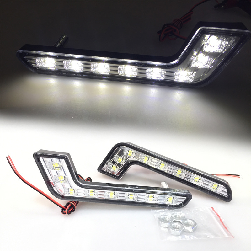 8Led 2+6 LED Car Daytime Traffic Light Seven Shape LED Day Line Lamp For Mercedes Benz Light