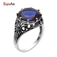 Fashion 925 Sterling Silver Jewelry Bohemian Antique Ring High Quality Sapphire Wedding Ring 925 Sterling Silver