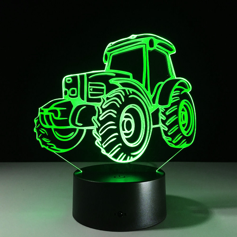 7-color Auto Changing 3D Touch LED Night Lights Tractor USB Decor Gift Table Lamp