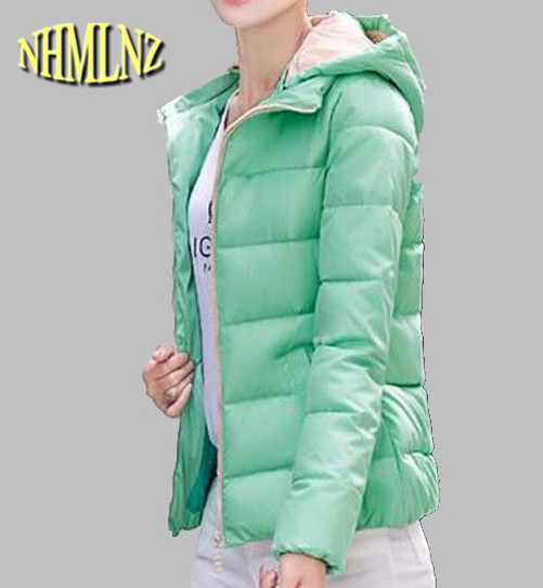 Winter Women Coat New Style Hooded Jacket Pure color Long sleeve Short Down jacket Women Slim Big yards Warm Cotton Coat G2721 europe winter big yards women coat warm duck down down jacket elegant pure color casual thick hooded slim women short coat g0451