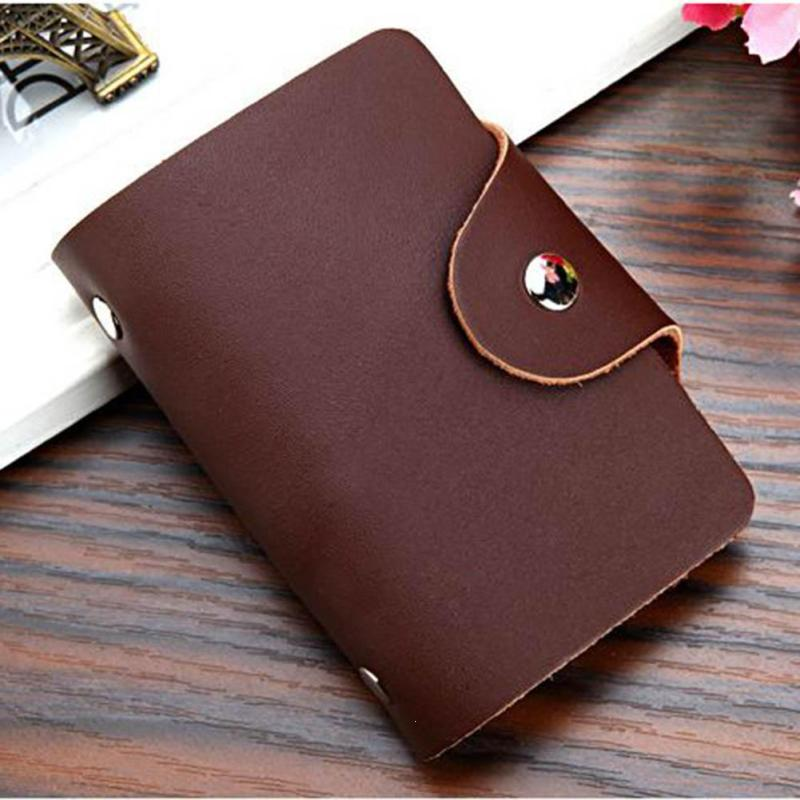 men pu leather card holder simple solid color cards pouch