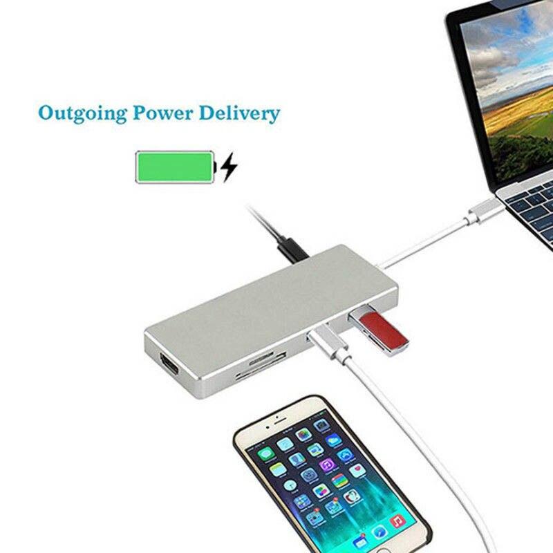 Multi-fonction Mini 3 Ports Lecteur de Carte TF SD USB 3.0 HUB Type-C À HDMI Pour Macbook Pro PC De Charge DJA99