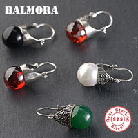 BALMORA 1 Pair 925 Sterling Silver Stone Earrings for Women Mother Lover Gift Earrings Vintage Fashion Jewelry Brincos MN30098