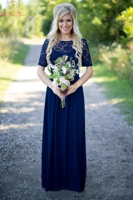 Navy Blue 2019 Evening Dress Short Sleeves Summer A Line Hot Sale Purple Chiffon Lace Elegant Maid Simple Floor Length For Party