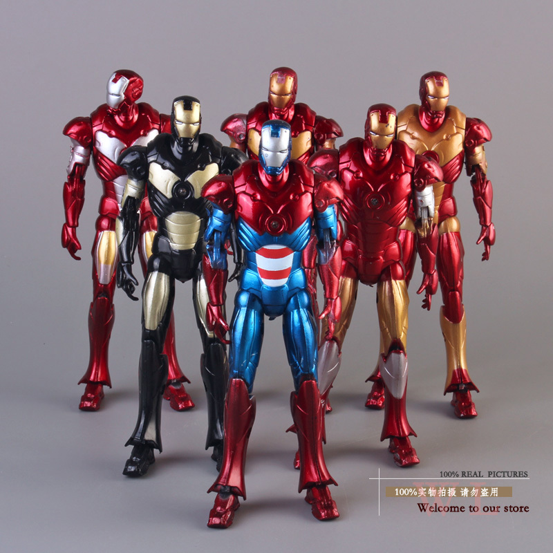 Free Shipping Marvel Iron Man 3 Mark 42 PVC Action Figure Collection Model Toys Dolls16cm 6pcs/set free shipping marvel egg attack iron man 2 mark 4 action figure collection model toy 8 20cm im018