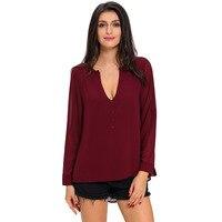 2017 Spring Autumn Women Tops Tees High Quality Long Sleeve Sexy V Neck T Shirt Fashion Elegant Blusas Feminina Vintage T-Shirts