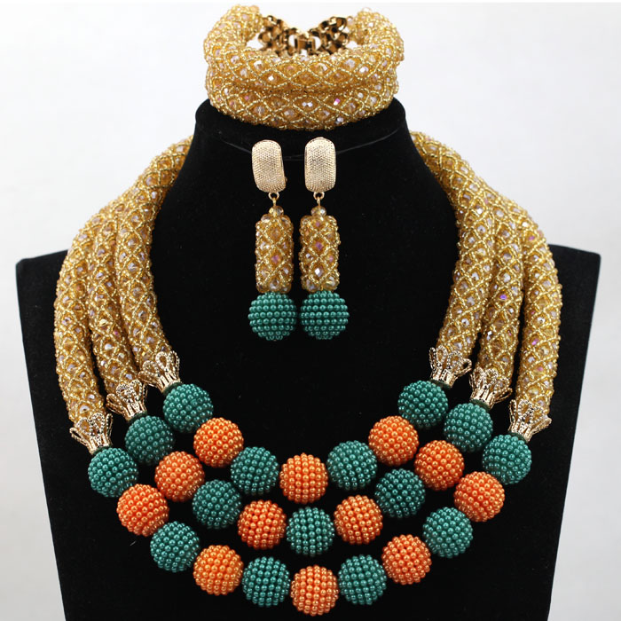 Perfect Gold Champagne African Beads Jewelry Set Teal/Orange Balls Jewelry Designs 2017 Wedding Beads Gift Free Shipping WD109