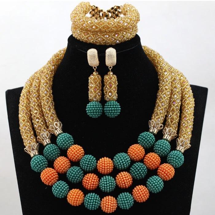 Perfecto Champagne Oro africano juego de joyas con cuentas Teal/bolas naranjas diseños de joyería de boda de 2017 cuentas de regalo envío gratis WD109